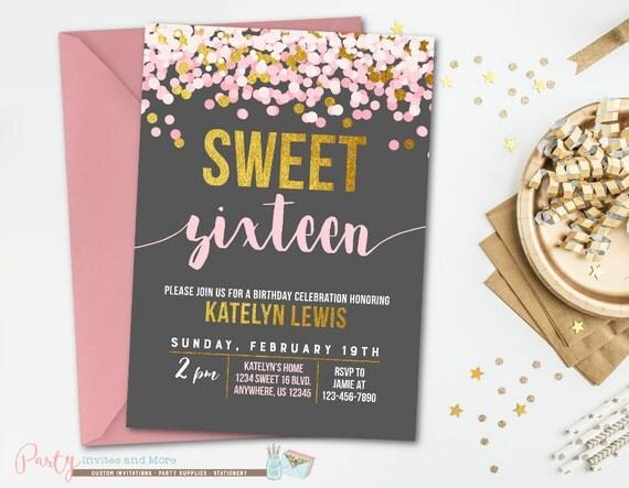 Sweet 16 Birthday Invitation Sweet 16 Invitation Pink and – Sweet 16 Birthday Invites