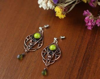 Boho copper earrings, metalwork jewelry, chandelier earrings, floral, ethnic jewelry, olive green