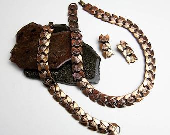 Renoir 50s Copper Set Necklace, Bracelet, Earrings, Parure, Jerry Fels Choker, Clips & Wristlet, Ex. Condition, Great Patina, L.A. USA.