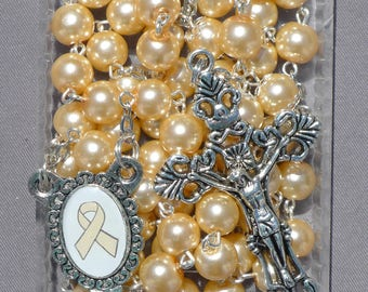 Uterine Cancer Awareness - 8mm Light Peach Glass Rosary