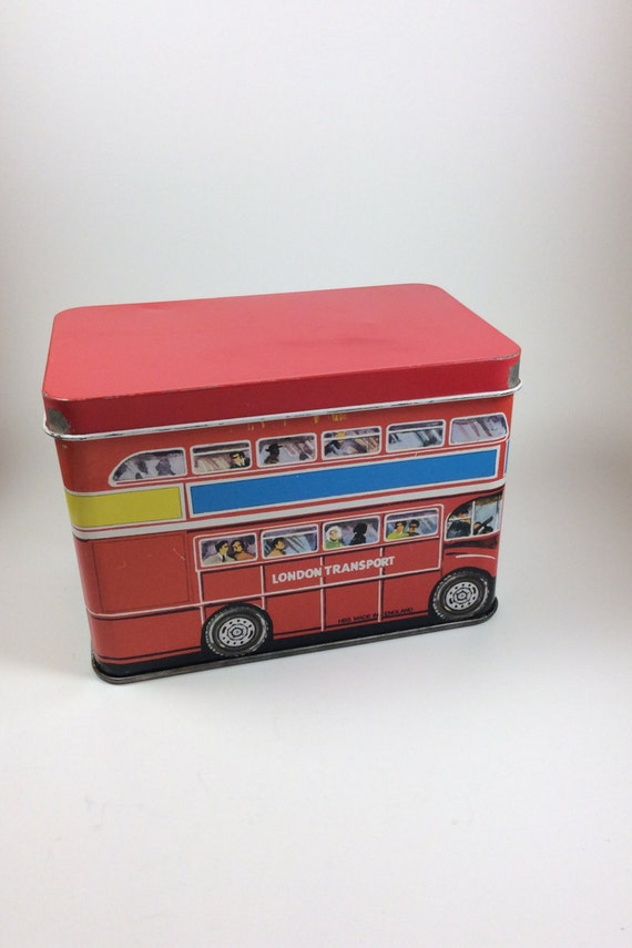 Vintage tins, vintage London transport double decker bus, hinged tin, vintage London tin, tin collectors, vintage collectors, biscuit tin