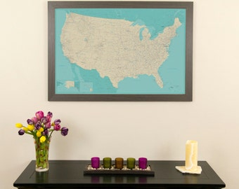 Teal Dream United States Push Pin Travel Map Push Pin Travel Map Gifts For