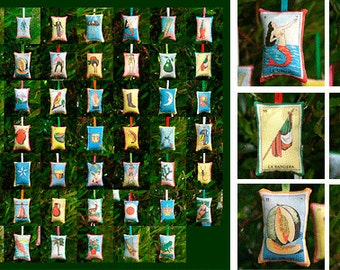 CLEARANCE: Choose 8 OR 12 Mexican Loteria Christmas Ornaments (your choice) - Mexican Christmas, Xmas decor, party favors, loteria ornaments