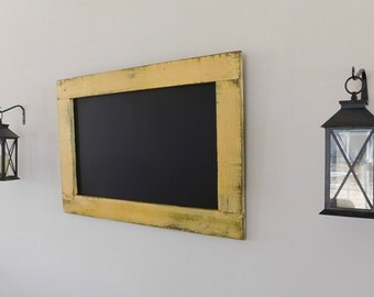 YELLOW BIRTHDAY CHALKBOARD - Decorative Chalk Board - Kitchen Chalkboard - 24 x 36 - Large Framed Decor - Rustic - Choose Color