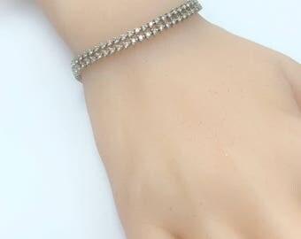 Double Row of Diamonds Tennis Bracelet - 14 karat white gold