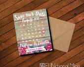 Vintage Floral Save the Date, calendar magnet, floral wedding, pink, turquoise, wedding calendar, wedding favor, wedding magnet + Envelopes