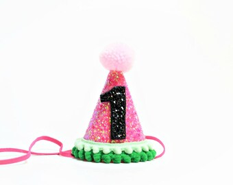 Watermelon Birthday Party Hat || First Birthday Party Hat || Girl Party Hat || Little Blue Olive ||1st Birthday Party Hat