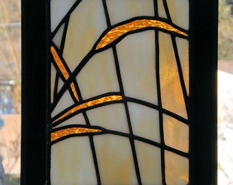 Stained Glass Original Small Panel Wild Grass Yellow White Black Home Office Window Decor Free Domestic Shipping