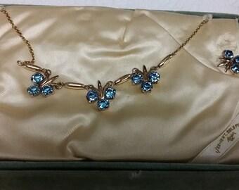 Retro 1940s AMCO 10kt GF Blue Crystal Choker and Screwback Earrings in Original Box