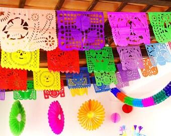 5 Mayo Large Paper Mexican Banner 16 Feet Long, Aztec home decor, Paper picado Garland, Fiesta Decoration, FIESTA, Wedding Decor,