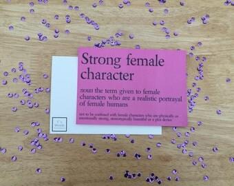 Strong Female Character Funny Feminist Bookworm Art Postcard Print | Hermione Granger, Katniss Everdeen,