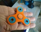 Fidget Spinner - Orange with Blue bearings - hand spinner edc fidget desk toy