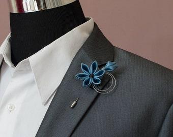 Boutonniere, Wedding Flower Lapel Pin - Steel Blue Kanzashi Stick Lapel Pin