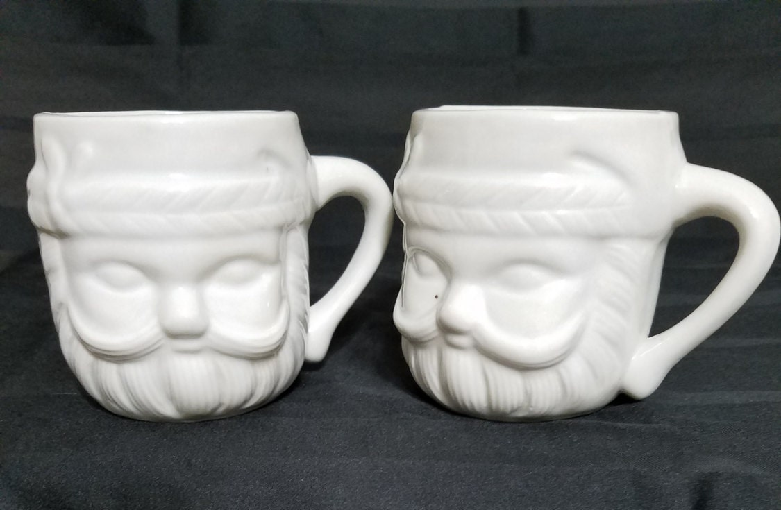 White Santa Claus Christmas Mugs Two White Ceramic Coffee Cups