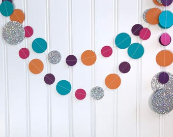 Disco Garland - Disco Ball - Pink, Orange, Teal, Purple Garland - 70's Party Decor - Disco Party - 5 ft. length