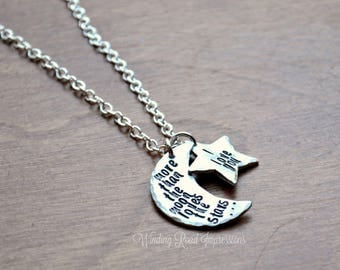 SALE- More Than the Moon- Personalized Hand Stamped Necklace