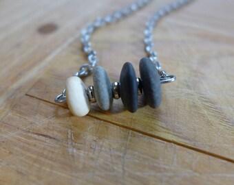 Beach pebble bar necklace, white pebble