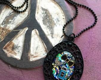 Doctor Who Handmade Matte Black Oval Ornate Bezel Enamel Resin Necklace