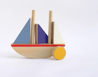 Wooden Boat Toy, Toddlers Balancing and construction Toy Boat - Toy