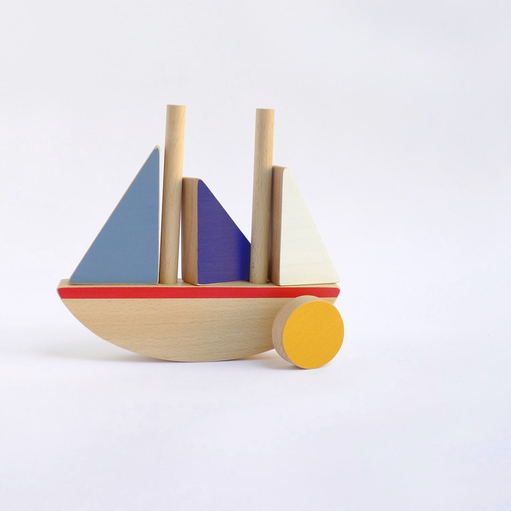 wooden boat toy toddlers balancing and construction toy boat