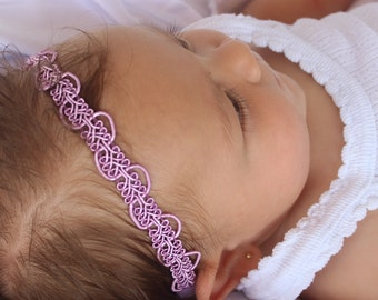 Boho Headband Baby, Purple Headband, Hippie Headband, Halo Headband, Forehead Headband, Newborn Headband, Baby Headband, Toddler Headband
