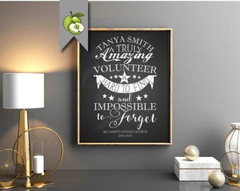 volunteer gift, volunteer thank you, retirement gift, team mom, class mom, school helper, A truly amazing volunteer, printable gift