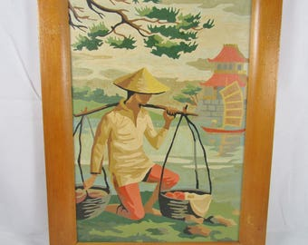 Asian Paint By Number Painting PBN Frame Wall Decor