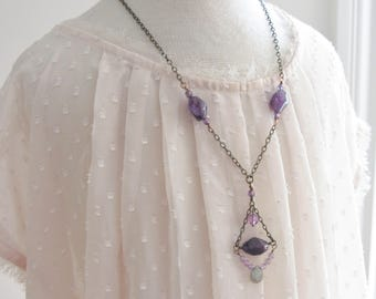 Amethyst Labradorite Beaded Necklace, Purple Bohemian Necklace, Boho Gemstone Necklace