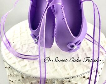 Ballerina Cake Topper/Purple  Ballet shoes///Ballerina Birthday topper