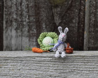 Miniature crochet bunny with basket eggs carrot cabbage crochet doll 1/12 scale Easter decor dollhouse collectable tiny rabbit light grey