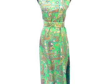 60's vintage vibrant groovy floral printed silk high neck belted cheongsam oriental inspired high slit maxi dress SMALL Lillie Rubin