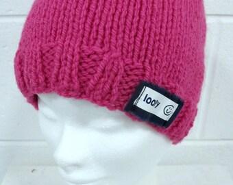 Pink Handknit Beanie Hat