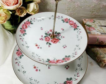 Vintage 1950s, 2-Tier Serving Tray, China, Made In Japan, Old Fashion Pink Roses on White