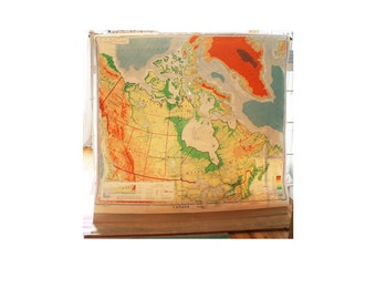Vintage School Map, Canada, Pull Down Classroom Chart, 1950s, Large, Bright Colors