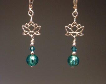 Venetian Glass Earrings - Teal Earrings - Venetian Murano jewelry - Teal jewelry - dainty earrings - Sterling earrings - Teal Lotus