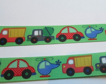 41-Cars, Trucks and  Helicopters Boy Toys Grosgrain ribbon -7/8 inch wide x 3 or 5 yards- your choice.