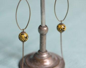 Mustard yellow palm leaves earrings