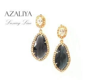Zirconia Princess Dangles. Black Diamond Drops on Cubic Zirconia Studs. Azaliya Luxury Line. Brides, Bridesmaids Earrings. Gifts.