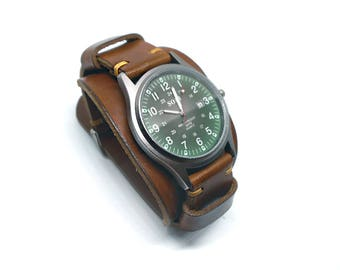 Men's watch Leather Wrist Watch Cuff Bracelet Strap Band