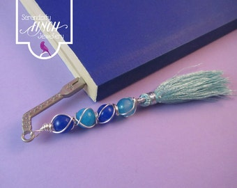 Sword Bookmark, Light Blue Agate Wire Wrapped Bookmark, Blue Bookmark, UK