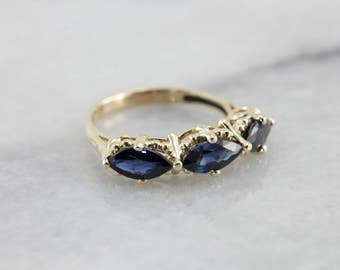 Unusual Marquise Sapphire Three Stone Ring, Great Stacking Band or Anniversary Ring L5WLTK-P