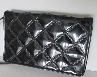 Vintage Varon Quilted Patent Leather Shoulder Bag/ Croosbody/ Purse