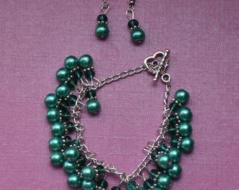 Green jewellery set, dark green jewelry set, emerald green bracelet and earrings, green pearl jewellery, green crystal jewelry, prom/wedding