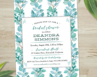 watercolor eucalyptus branches panel bridal wedding shower invitation printable evite or printed us - Evite Wedding Invitations