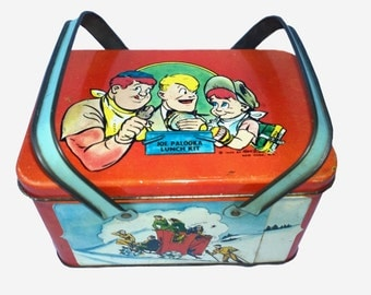 Vintage Metal Lunch Box, Joe Palooka, 1948, Antique Original