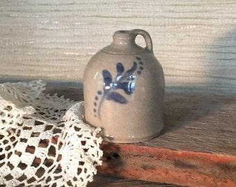 Handcrafted Miniature Stoneware Pottery moonshine jug with cobalt design
