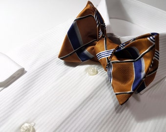 SELF TIED Bow Tie with Plaid Checks in Dark Tangerine Yellow Navy Blue and White