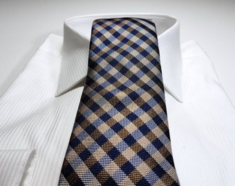 Silk Tie with Gingham Checks in Gold Brown and Midnight Navy Blue and Silver
