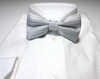 Bow Tie in Silver Gray Solid Tonal Stripes