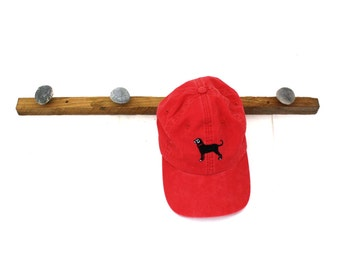 Wood Hat Rack made with Tobacco Stick and Rocks / Wall Hanging Hat or Coat Rack